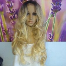 Ombre Dark Roots To  light Blonde Lace part  Wig  heat Resistance Synthetic hair