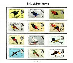 BRITISH HONDURAS (11-19 ) 1962-7 SG202-13 & 239-45 SET OF 19  BIRDS  MH /  MM