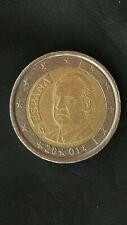 MONETA 2 EURO Spagna 2001 Spain RARA ERRORE CONIO Coin defect DECENTRATA a Dx