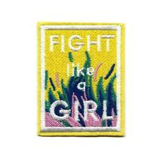 "FIGHT LIKE A GIRL IRON ON PATCH 2.7"" Yellow Female Feminist Empowerment Applique"