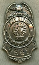 1880 - 1900 New York City Post Office City Delivery Service Badge #'d 7847