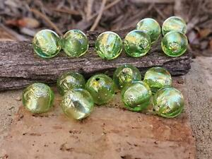 (15) Vintage Silver Foil Green Glass Lampwork BEADS 1/2 Drill DIY Jewelry Making