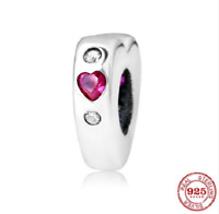 100% 925 Sterling Silver Red Heart Spacer Beads Charm pandora