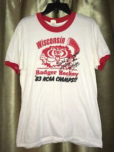 VTG 1983 Wisconsin Badgers Hockey National Champs White Red Ringer T-Shirt Fit S