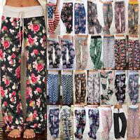 UK Women Long Pants Loose Wide Leg Yoga Trousers Stretch Ladies Loungewear Sport