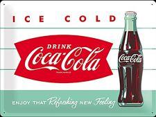 Cartello di Metallo Coca Cola Ice Cold Bottiglia Large (na 4030)