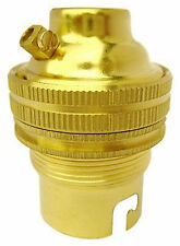 BC B22 Light Bulb Lamp holder 10mm, Earthed, Polished Brass Unswitched (A70M)