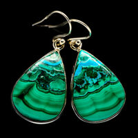 """Malachite In Chrysocolla 925 Sterling Silver Earrings 1 1/2"""" Jewelry E399539F"""
