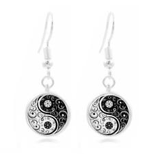 1~pair Tibet Silver Dome Photo Art 16MM Glass Cabochon Long Earrings yin and yan