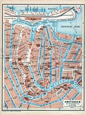 Antique map Amsterdam Holland 1904 plattegrond carte karte mappa
