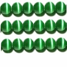 "Cats Eye Beads 6mm Green Strand Grade ""A"" Fiber optic 65 Beads per strand"