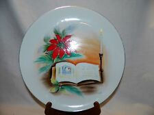 Vintage Hand Painted & Signed Christmas Plate With Poinsettia & Candle