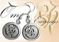 OM EARRINGS~Pewter & Silver Plated~Buddha~Feng Shui~Made by Purely Therapeutic
