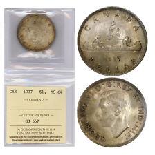 Canada Silver Dollar 1937, Graded by ICCS