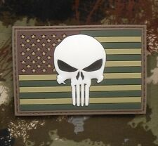 PUNISHER US FLAG RUBBER PVC GLOW GITD SEALS MULTICAM VELCRO® BRAND FASTEN PATCH
