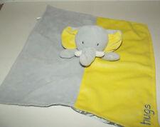 Okie Dokie Elephant Yellow & Gray Lovey Security Blanket Satin Back w/ Rattle