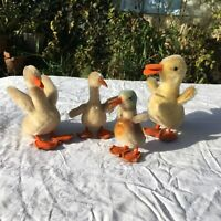 COLLECTION 4 VINTAGE Steiff MOHAIR Duck  Duckling Goose Easter Basket 2 Signed