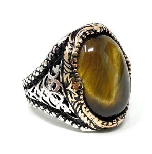 925k Solid Sterling Silver  Tiger Eye Stone Filigree Men's Ring - USA I2B