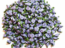 Wisteria Rose Flower Appliques, Offray Small Satin Flowers X 10 pieces Moss Leaf