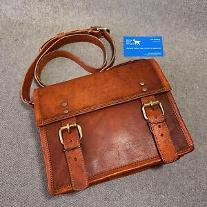 """Leather Bag 9"""" Wide Satchel S9 Shoulder Bag iPad Mini Billy Goat Designs"""