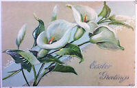Early 1900's Easter Postcard White Canna Lily Embossed