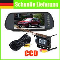 """7"""" Auto Monitor Spiegel Rückansicht Kit +Nachtsicht CCD Rückfahrkamera 10m Kable"""