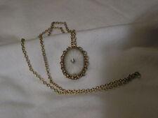 ...Vintage 12K Gold Filled,Camphor Glass,Center Diamond Pendant Necklace...