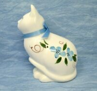 Vintage Cat Figurine Sitting White Cat with Blue Flowers Eyes Japan Chinese Mark