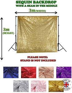 3m x 3m Sequin Backdrop Photoshoot Background Wedding Curtain Glitter Decor UK