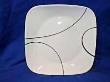 """Corelle Vitrelle Square Simple Lines White Black  9"""" Plates"""