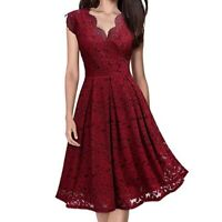 Women's V Neck Lace Sleeveless Cocktail Ball Gown Party Wedding Evening Dress