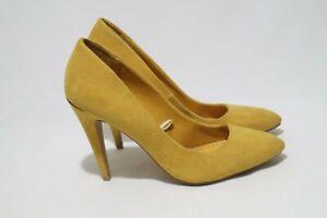 Made in Spain (Espana) Zara Trafaluc Size 7 Womens Smoked Yellow Leather Heels
