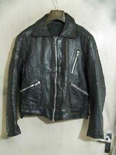 Vintage 80'S Distressed Leather Cafe Racer Motorcycle Jacket Size M