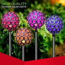 Solar Garden Color Changing Crystal Ball Decor Stake LED Light 4 inc.  yard art