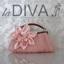 CLUTCH Chifón Bolso Flor De Satén Bambú Mango rosa rosa Bolso de fiesta Gala