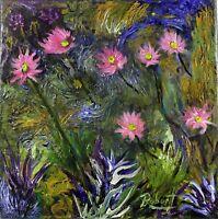 "Pink Sunflowers Painting Garden Impressionism Artist signed ""Robert"" COA"