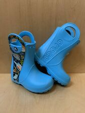 NWT CROCS Handle It Sea Life Rain Boots Kids Boys Blue C 10 Authentic Cute!
