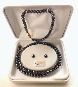 Black Freshwater Cultured Pearls necklace/bracelet/earring set 14kt gold