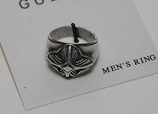 Guess Silver & Black Metal Designer Fashion Ring Nwt On Card Sz 8