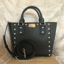 NWT MICHAEL KORS LEATHER SANDRINE STUD SMALL CROSSBODY BAG IN BLACK