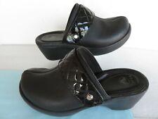 CROCS Cobbler Quilt Strap Black Leather Platform Slip On Slide Clogs ~9 M ~GREAT