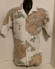 Vintage LL Bean Gulf of Maine Hawaiian Short Sleeve Shirt Coastal Mens Large