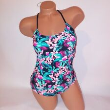 Bongo One Piece Swim Medium Tropical Floral Strappy Lace Up Back Wire Free