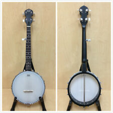 Caraya BJ-30 5-String Irish Tenor Banjo,Black Matt,Open-Back,Gloss Milky Top+Bag