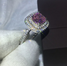 2Ct Cushion Cut Pink Sapphire Double Halo Engagement Ring Solid 10K White Gold