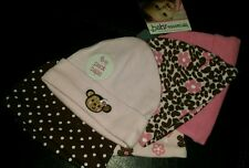 Cute Baby Essentials Infant Baby Girl'S Pack Caps Monkey, Flower Dots & Pink.