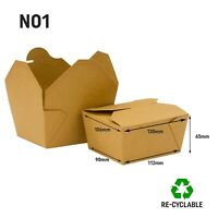 No 1 Kraft Food Box Deli Takeaway Noodles Rice Pasta Folding Lids Biodegradable