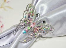 Wedding Linens Inc. ( 6 PCS) Rhinestone Napkin Rings Butterfly Party Banquet