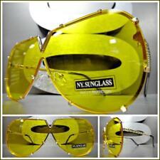 VINTAGE RETRO SHIELD Style Party Rave Club DJ SUN GLASSES Gold Frame Yellow Lens