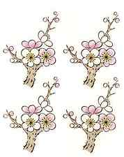 "6 Branch Tree Flower Enamel & Gold Accents 2-5/8"" Waterslide Ceramic Decals Cx"